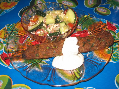 lamb kebabs & cucumber salad